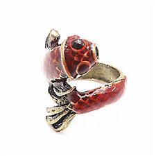Vintage En Espiral Rojo Esmalte Peces Carpa encanto Anillo