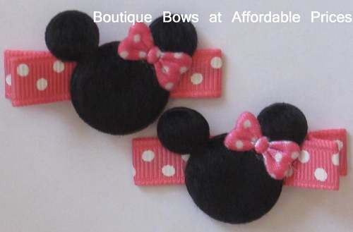 2 Boutique Toddler Girl Hair Clips Bows MINNIE HOT PINK