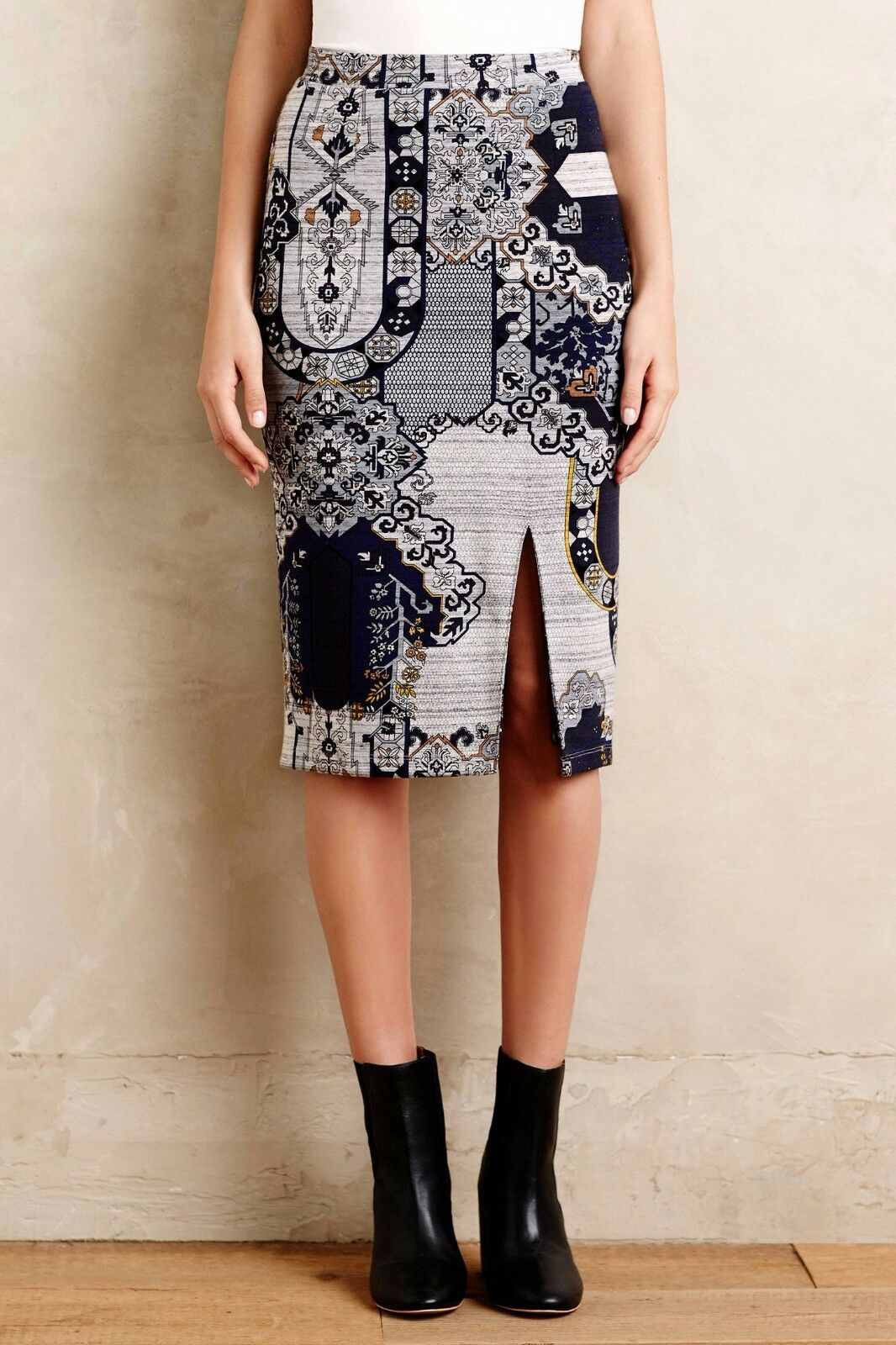 NWT Anthropologie Acanthe Pencil Skirt by HD in Paris, bluee, XS, was  98