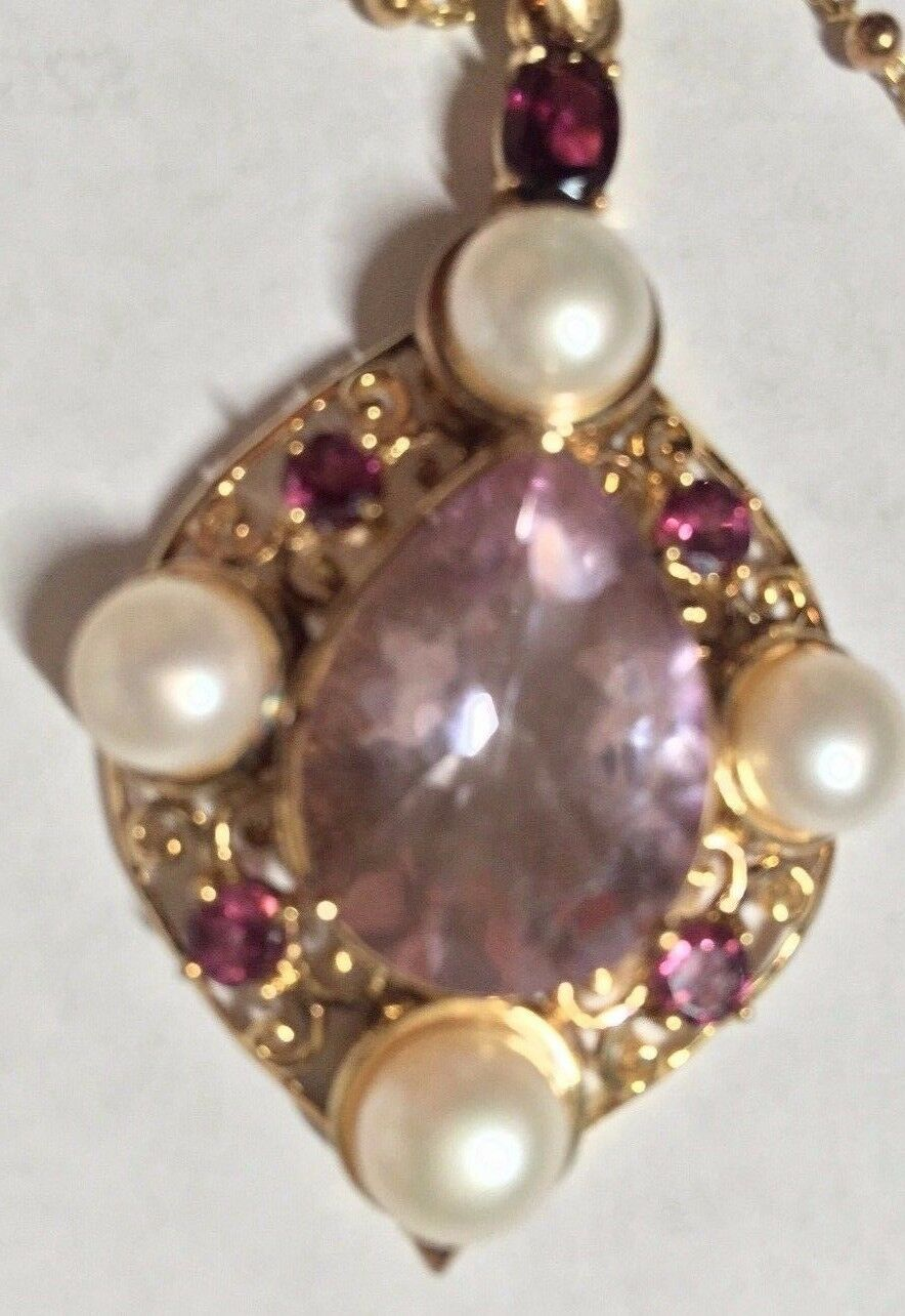 Treasures of India Multi Gems & Pearl Sterling Pendant goldTone w Chain 20Gm18 L