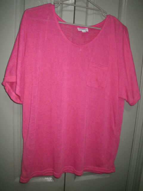 NEW Millers 18 Pink Light Textured Woven Polyester Drape Short Sleeve Tee Top