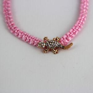Rosa-Armband-mit-glitzerndem-Gecko-Eidechse-Universalgroesse