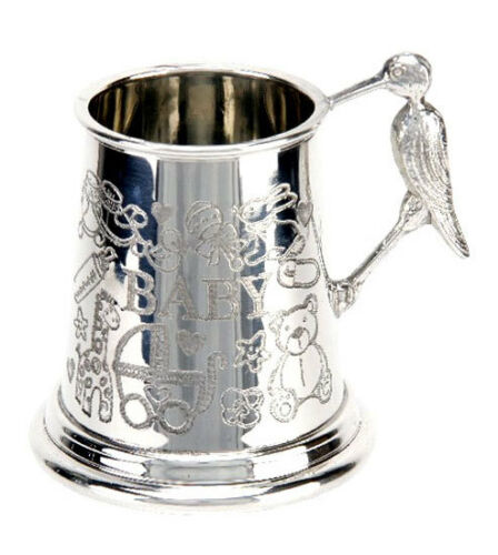 NEW English Pewter Mug Baby Stork Handle Keepsake Cup Newborn Christening Gift