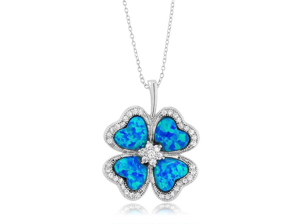Platino argentoo Sterling Blu Opale Intarsio Trifoglio Quadrifoglio 3D Aureola Aureola Aureola 96bf4c