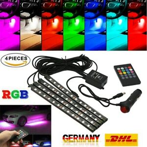 4X-RGB-12-LED-Innenraumbeleuchtung-Fussraumbeleuchtung-Auto-Innenbeleuchtung-12V