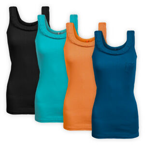 Womens-Ladies-Ribbed-Stretch-Cotton-Vest-Top-Sleeveless-Pocket-Casual-T-shirt