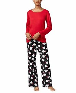 cab8d2168454 Details about Charter Club Womens Scoop Neck Top and Printed Fleece Pajama  Pants Set New Sz L