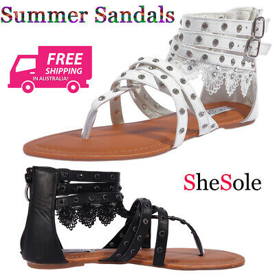 SheSole Women's Summer Flat Gladiator Sandals Lace Thong Beach Shoes New Design | eBay