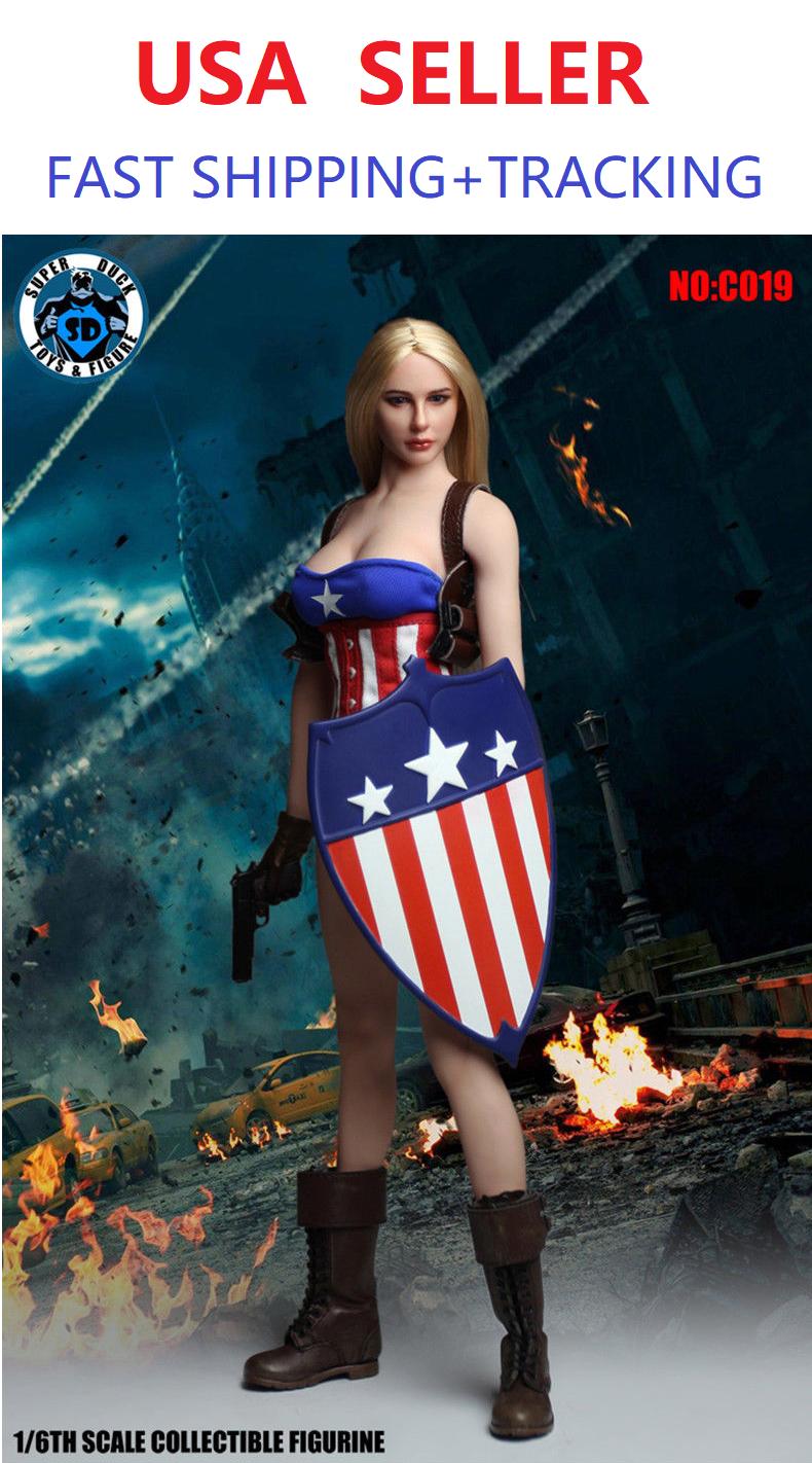 Escala 1/6 personalizados con Miss Capitán América Conjunto De Muñeca Phicen seamless Cuerpo Sexy