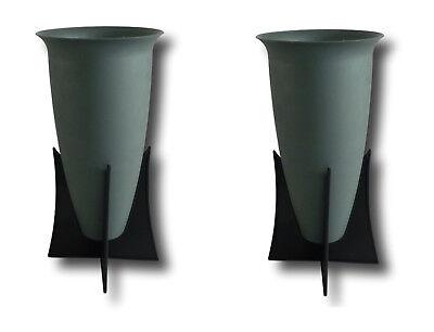 1 Stück Grabvase Rund Grün 27cm Friedhofsvase aus Kunststoff Vase Grab