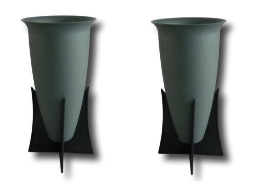 2 x Grabvase mit Ständer Friedhofsvase Blumenvase Vase für Grab Standvase grau