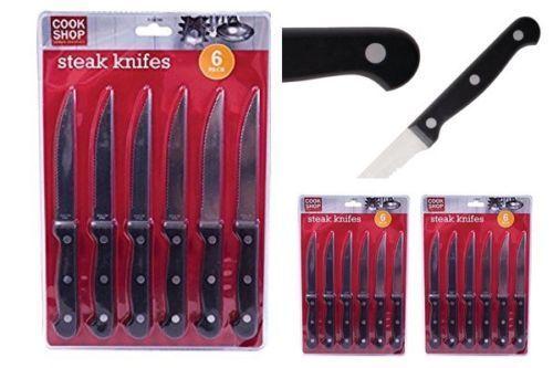 12//8//4//2X couteaux à steak de cuisine manche en bois acier inoxydable Couverts