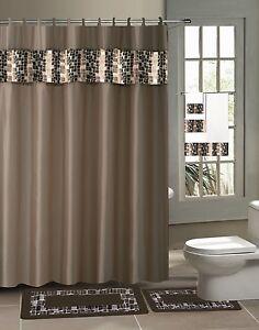 Bathroom Bath Rug Contour Mat Shower Curtain Rings Towel 18pc Set Mosaic Brown Ebay