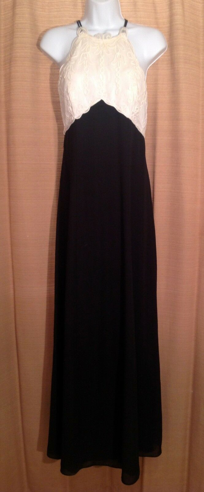 Women's RHAPSODY Size 6 Black & Ivory Embroidered Bust Formal Maxi PROM DRESS