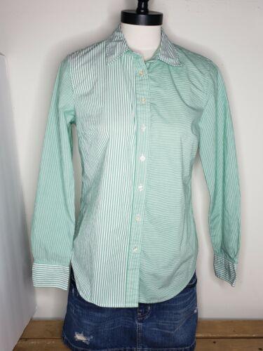 Talbots Women's Shirt Green White Striped Button U