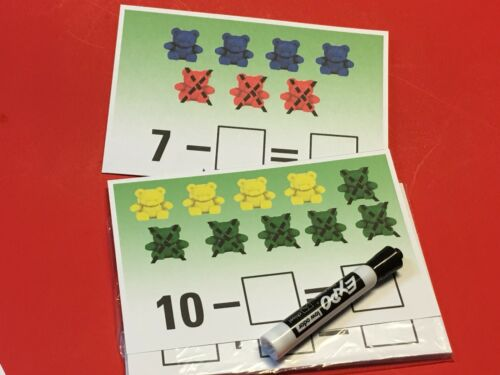 Bear Counter Subtraction Cross out 20 Laminated  Dry Erase Mats