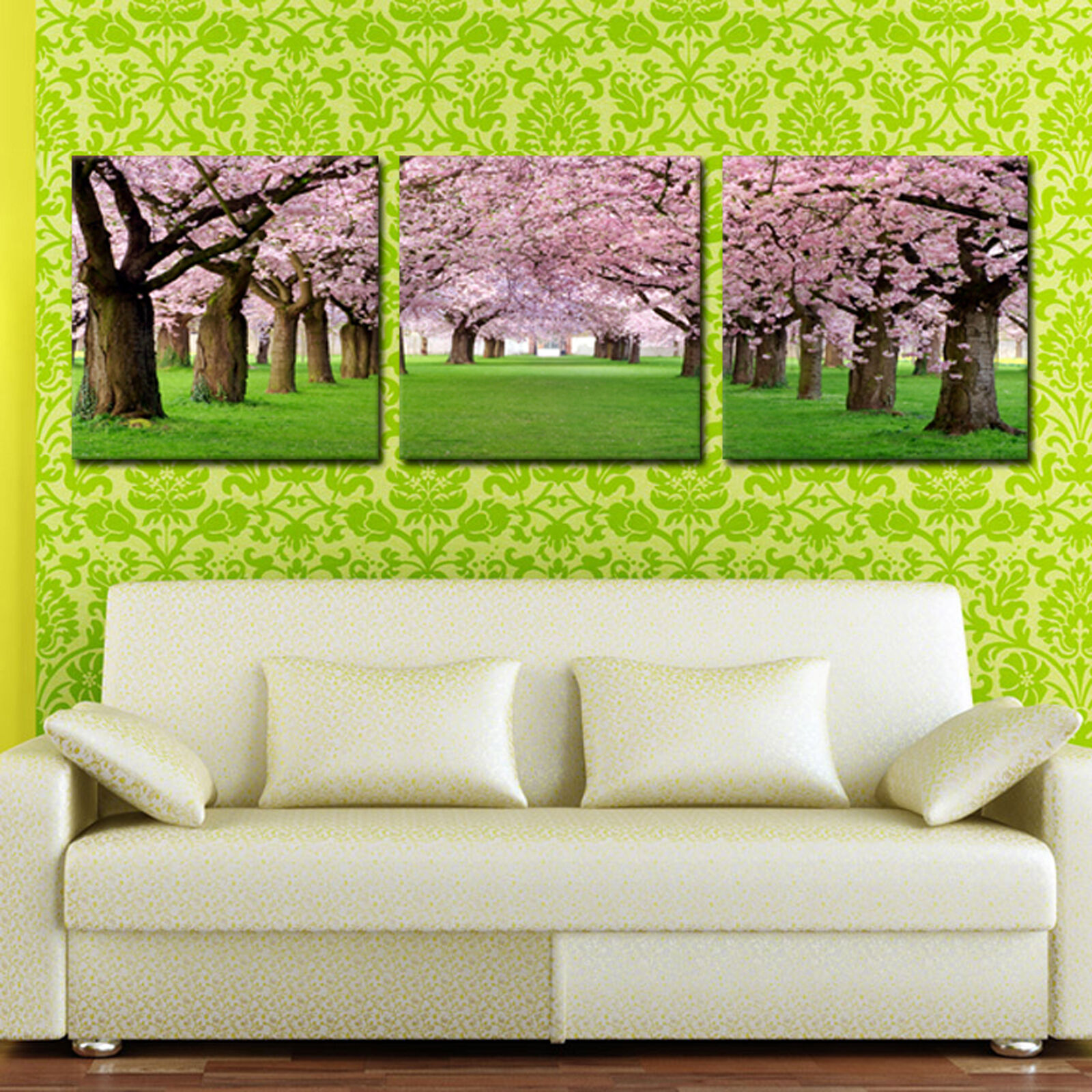 CHERRY BLOSSOM ready to hang 3 panel mounted picture betterThan stretched canvas