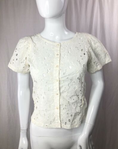 Vintage Kenzo 70s  Sheer Floral Lace Top XS - image 1