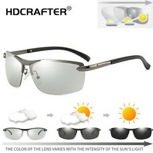 c4fdb4865b Image is loading Men-Outdoor-Metal-Photochromic-Polarized-Sunglasses -Driving-Frameless-