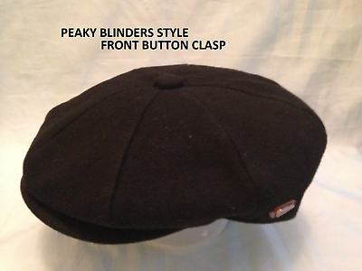 MENS NEWSBOY BAKER BOY PRE SHAPED  PEAKY BLINDERS  BLACK CAP LARGE 58-59 CM L