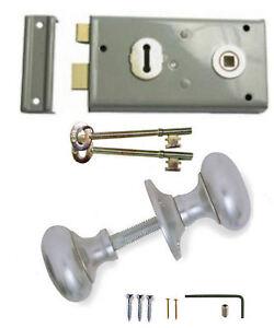 Grey Rim Sash Lock 145 x 75mm with White Handles Door Sashlock Knobset 2 Keys