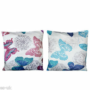 Butterfly Design Cushion Covers 18 X Blue Red EBay