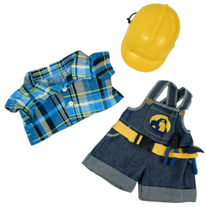 "Teddy Bear CONSTRUCTION WORKER w/HARD HAT CLOTHES Fit 14-18"" Build-a-bear !NEW!"