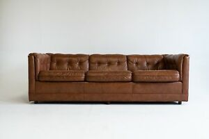 Details About Mid Century Vintage Drexel Brown Leather Couch Lounge Low  Profile Long Tufted