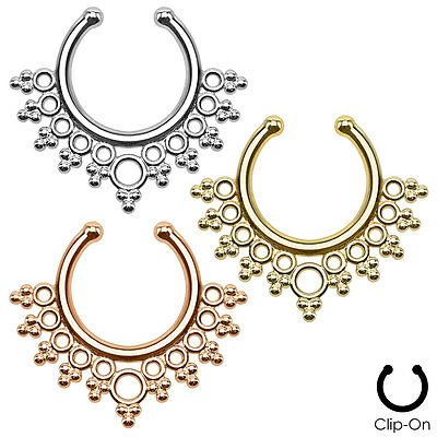 Faux Non Piercing Lacey Edges SEPTUM Nose Clip-On Hanger RINGS Stud Body Jewelry