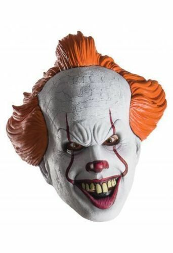 Rubies Pennywise It Movie 3//4 Scary Clown Circus Halloween Costume Mask 34718