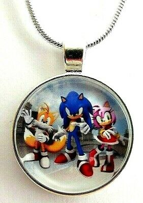 SONIC The Hedge Hog ed Amy Rose Collana Regalo 22 pollici Argento Catena Compleanno