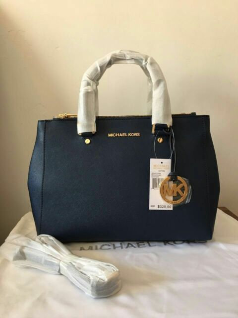 72026c44d4f7 Auth Michael Kors Medium Sutton Saffiano Leather Satchel Handbag Navy