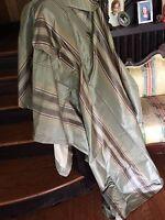 Restoration Hardware Drapes Curtains 50x84 Set (2) Stripe Sage Green Silk