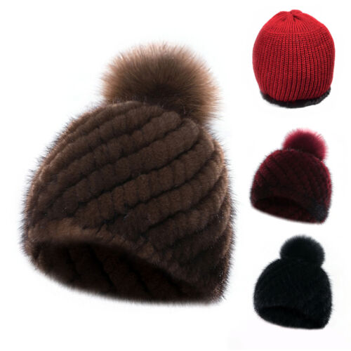 Real Mink Fur Hat Warm Knitted Beanies Top Series Cap With Fox Fur Peas Cap Gift