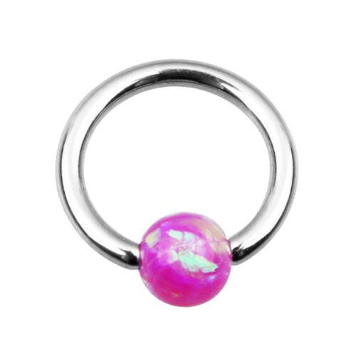 16G Surgical Steel Opal Ball Nose Septum Clicker Ring Hoop Nipple Ear Piercing