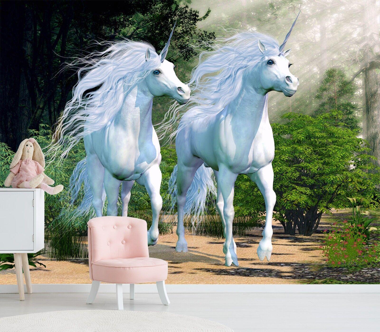 3D Two Unicorns Forest 89 Wallpaper Mural Print Wall Indoor Wallpaper Murals UK