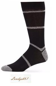 Saks-Fifth-Avenue-Cotton-Men-039-s-Italy-Black-Gray-Stripes-Soft-Socks-Sz-10-13