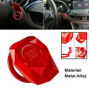 LECART 2Pcs Red Car Engine Start Stop Button Cover Ring Ignition Start Stop Button Trim Push Button Switch Decor Sticker Aluminum Alloy Auto Interior Accessories Compatible for Audi A4 A5 A6 A7 A8 Q5
