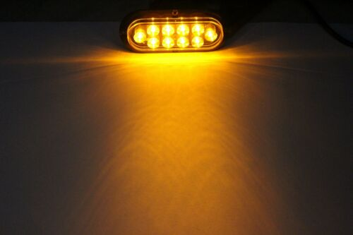 """2 AMBER YELLOW Oval 6/"""" FLANGE SURFACE MOUNT LED Turn Tail Light Trailer Truck"""