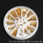 360Pcs Mixed Design 3D Gold Metal Glitters Slice Nail Art Decoration Case J6P8
