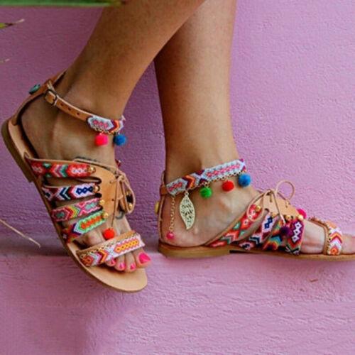 Women Summer Boho Bohemian Beach Ethnic Flat Ankle Strap Sandals Shoes Plus Size