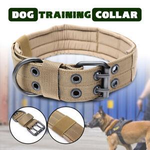 Tactical-Military-Adjustable-Dog-Training-Collar-Nylon-Leash-With-Metal-Buckle