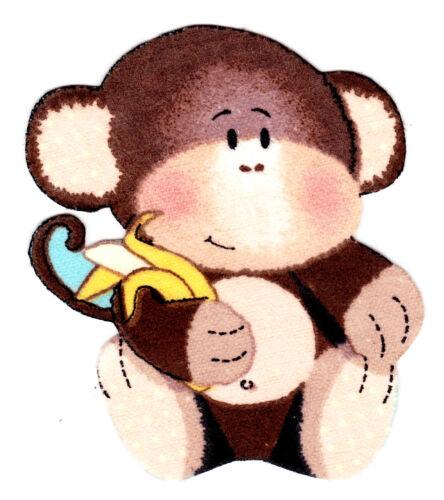 "3.5/"" Baby monkey orangutan jungle safari fabric applique iron on character"