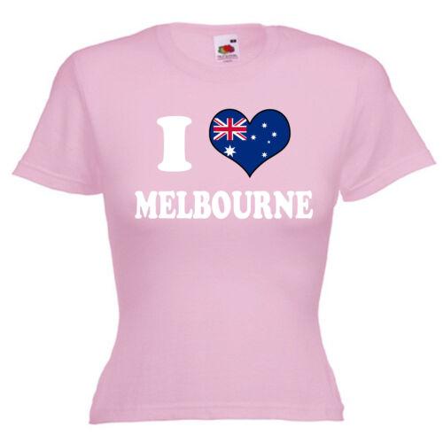 I love coeur Melbourne Mesdames LADY FIT T Shirt 13 Couleurs Taille 6-16