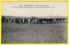 cpa 94 VINCENNES Place du POLYGONE Atterrissage de l'AÉROPLANE de Louis BLÉRIOT