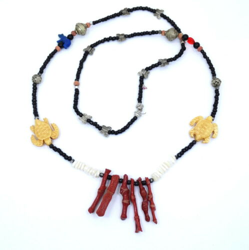 Minerals Ore Unusual Vintage White Faux Bone Necklace Caveman Style Kitsch Chic Geo Piece