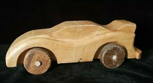 Details About Vintage Homemade Wooden Toy Race Car