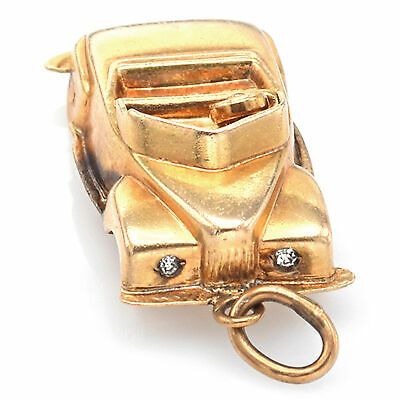14k Yellow Gold Vintage Car Charm Pendant Car With Moving Wheels