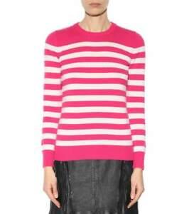 e2b5bdbc1 New Saint Laurent Cashmere Knit Sweater Striped Pink White Jumper L ...