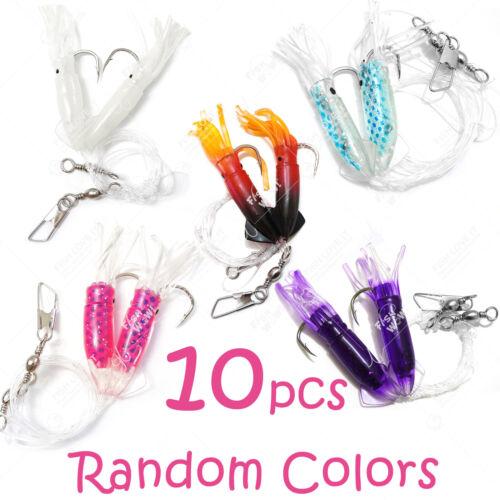 "10pks 3/"" Fishing RockCod Rig Twin Bulb Squids Rock fish soft Lure Random Colors"